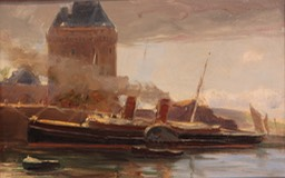 Farquhar M Knowles Boat at Harbour Unframed Final